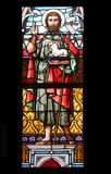Saint John the Baptist. Stained glass in Minoriten kirche in Vienna, Austria Stock Photo