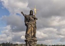 Saint John Doopsgezind, Charles Bridge, Praag, Tsjechische Republiek stock afbeeldingen