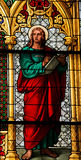 Saint John the Evangelist. Church window in the Dom of Cologne, Germany, depicting Saint John the Evangelist, author of the Apocalypse Stock Photos