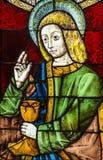 Saint John the Evangelist Stained Glass - 1380-1410 Stock Photos