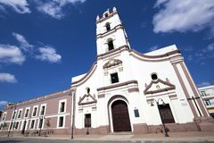 Saint John of God Church in Cuba. Facade of the colonial Saint John of God Church Iglesia de Nuestra Senora de la Merced, Camaguey in Cuba stock image