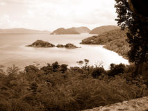 Saint John island. Scenic black and white coastline of Saint John island, United States Virgin Islands Stock Images