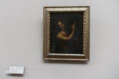 Saint john of leonardo da vinci  at the Louvre museum Stock Images