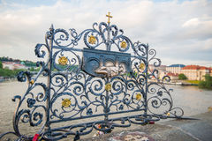 Saint John of Nepomuk on Charles Bridge in Prague Royalty Free Stock Photography