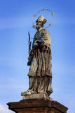 Saint John of Nepomuk on  charles bridge in prague Royalty Free Stock Photography