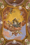 Saint John of Nepomuk on church ceiling Stock Image