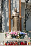 Saint John Paul II. Statue of the late Pope John Paul II on the week of his recognition as a new catholic church Saint Royalty Free Stock Image