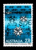 Saint John\'s Ambulance Brigade, World Stamps Expo serie, circa 1. MOSCOW, RUSSIA - MARCH 18, 2018: A stamp printed in Australia shows Saint John\'s Ambulance Royalty Free Stock Images