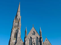 Saint John's Cathedral. Up view of Saint John's cathedral in Limerick, Ireland (blue sky background Royalty Free Stock Image