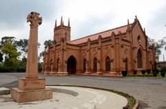 Saint John's Cathedral Anglican church Peshawar Pakistan. Peshawar, Pakistan - March 3, 2015: A view of the Peshawar Diocese Anglican Church of Pakistan St John' stock image