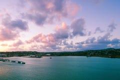 Saint John`s harbor at sunrise - Antigua and Barbuda Stock Photos