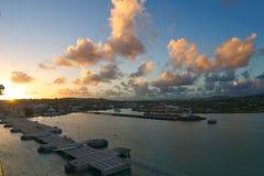 Saint John`s harbor at sunrise - Antigua and Barbuda Stock Photo