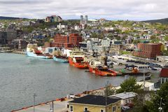 Saint John's port activity, Newfoundland, Canada. View from Signal Hill, port activity in St John's during a busy day Stock Photography