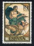 Saint John. SPAIN - CIRCA 1974: stamp printed by Spain, shows Saint John the Evangelist Eduardo Rosales, circa 1974 Stock Image