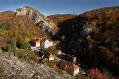 Saint John under the Cliff. The view on Saint John under the Cliff, one of the most picturesque villages in the Cesky Kras natural protected area in CZech Stock Image
