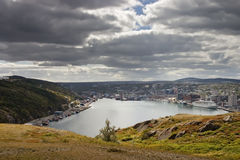 Saint Johns Newfoundland Harbour. Under a partially cloudy sky Royalty Free Stock Photo