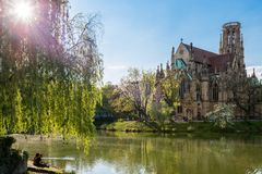 Saint Johns protestant church over the Fire lake in Stuttgart, Germany Royalty Free Stock Image