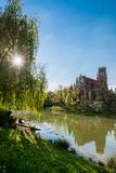 Saint Johns protestant church over the Fire lake in Stuttgart, Germany Royalty Free Stock Images