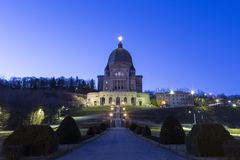 Saint Joseph's Oratory of Mount Royal at sunrise, Montreal stock photography