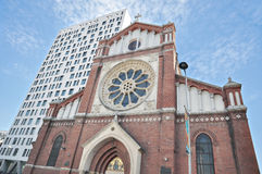 The Saint Joseph Cathedral and Cathedral Plaza Stock Photos