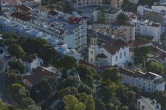 Top view of a church stock photography