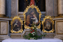 Saint Joseph holding child Jesus Stock Photo