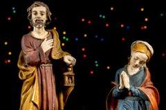Saint Joseph and Mary Virgin. Nativity scene. Christmas traditions. Royalty Free Stock Photos