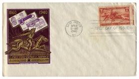 Saint Joseph Missouri, USA - 3 April 1940: Historiskt kuvert för USA: räkning med årsdagen för kapsel 80th av näven Pony Expre fotografering för bildbyråer