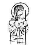 Saint Joseph och behandla som ett barn den Jesus färgpulverillustrationen vektor illustrationer