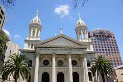 Saint Joseph's Cathedral. An exterior view of the Saint Joseph's cathedral with the Knight Ridder building in the background in San Jose California Royalty Free Stock Photography