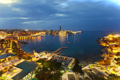 Saint Julian Bay, Malta. Aerial view of St. Julian's bay at the blue hour, Malta Stock Photo
