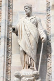 Saint Justin statue. Saint Justin the Martyr. One of statues in the Cathedral of Milan (Italy stock image