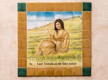 Saint Kateri chez San Xavier Del Bac Mission, Tucson Arizona photo stock