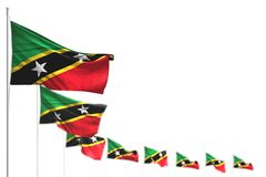 Saint Kitts e Nevis sveglio ha isolato le bandiere ha disposto diagonale, la foto con il fuoco molle e lo spazio per testo - tutt illustrazione vettoriale
