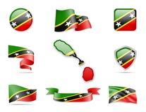 Saint Kitts et collection de drapeaux du Niévès Image stock