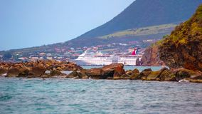 Federation of Saint Kitts and Nevis - May 13, 2016: The Carnival Cruise Ship Fascination at dock. Saint Kitts, Federation of Saint Kitts and Nevis - May 13, 2016 Stock Image