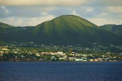 Saint Kitts Island landscape - closer view of a hill slope with sun and shade patches Stock Photos