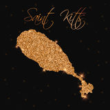 Saint Kitts map filled with golden glitter. Royalty Free Stock Photography