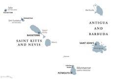 Saint Kitts, Nevis, Antigua, Barbuda, Montserrat political map Royalty Free Stock Photo