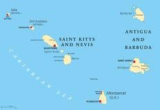 Saint Kitts, Nevis, Antigua, Barbuda and Montserrat political map Stock Photos