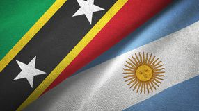 Saint Kitts and Nevis and Argentina two flags textile cloth, fabric texture. Saint Kitts and Nevis and Argentina flags together textile cloth, fabric texture royalty free illustration