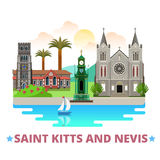 Saint Kitts and Nevis country design Flat cartoon Stock Images