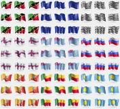 Saint Kitts and Nevis, European Union, Brittany, Faroe Islands, Tuvalu, Slovenia, Bhutan, Benin, Palau. Big set of 81 flags. Stock Photography