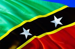Saint Kitts and Nevis flag. 3D Waving flag design. The national symbol of Saint Kitts and Nevis, 3D rendering. National colors and vector illustration
