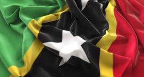 Saint Kitts and Nevis Flag Ruffled Beautifully Waving Macro Clos Stock Photography