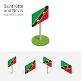 Saint Kitts and Nevis flag, vector set of 3D isometric flat icon Royalty Free Stock Image