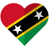 Saint Kitts and Nevis flat heart flag Royalty Free Stock Photography
