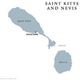 Saint Kitts and Nevis political map Stock Photo