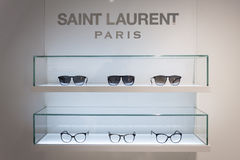 Saint Laurent glasses on display at Mido 2014 in Milan, Italy royalty free stock image