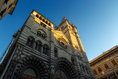 Saint Lawrence Cathedral, Cattedrale di San Lorenzo at sunset in Genoa Genova, Italy royalty free stock photos